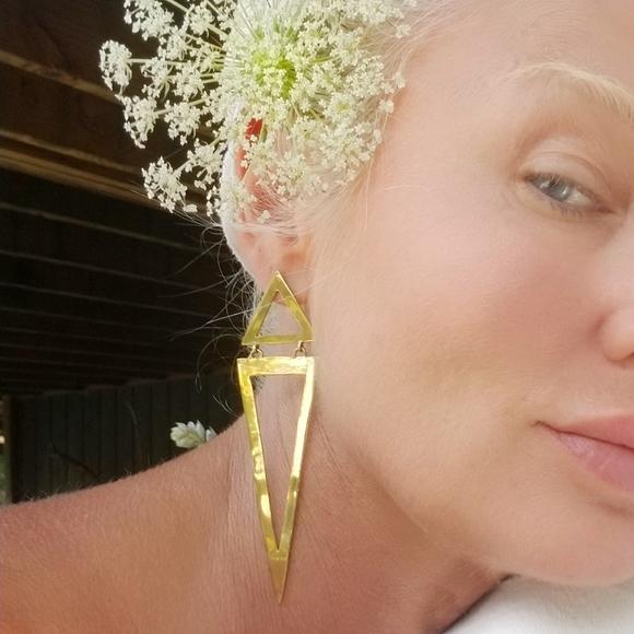 bisjoux Jewelry - Triangle spike gold brass earrings new